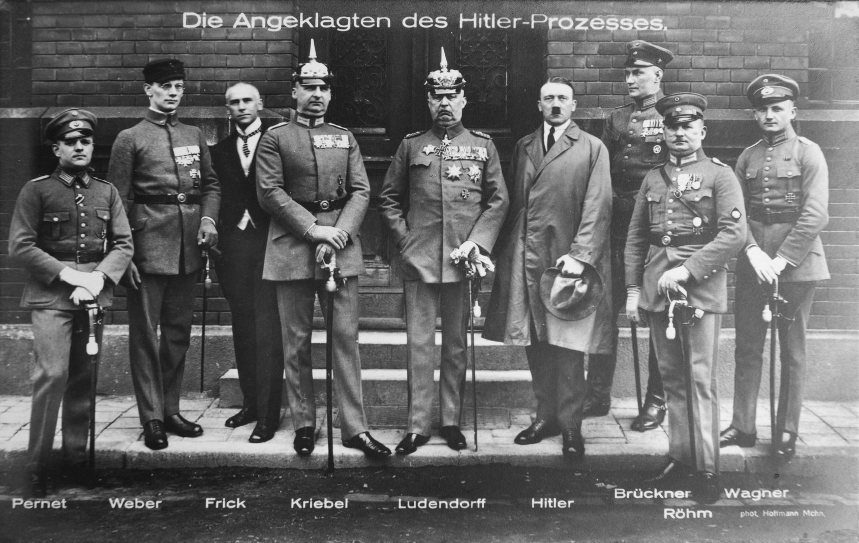 Hitler, Ludendorff, and other defendants pose during their trial after the failed putsch in Munich