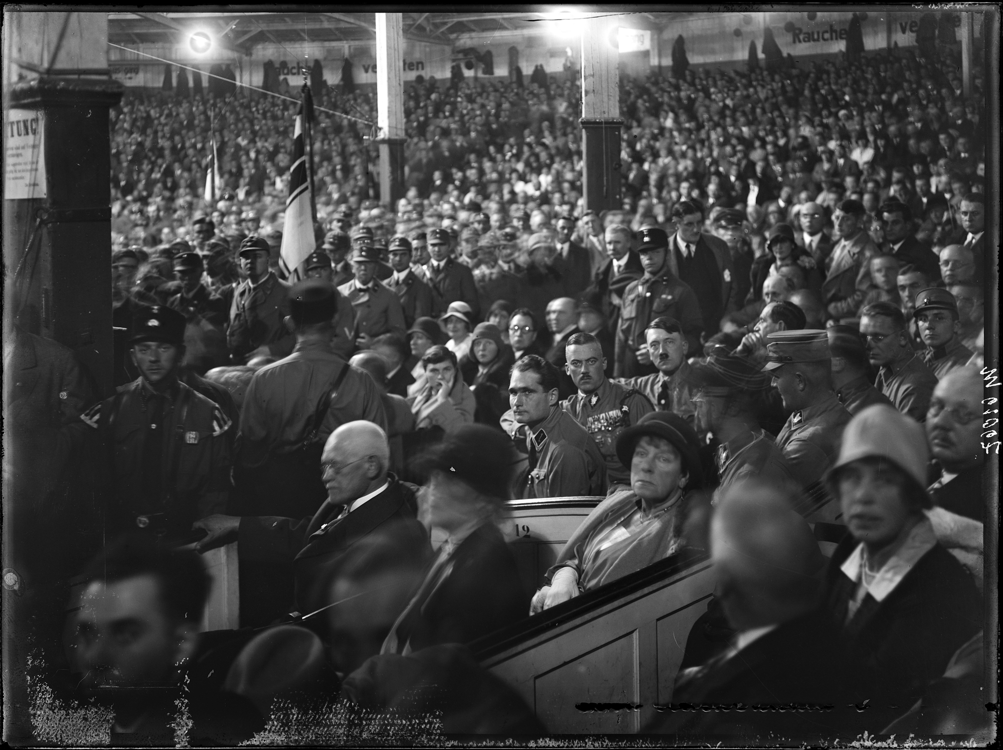 Adolf Hitler, Rudolf Hess, Pfeffer von Salomon and Elsa Bruckmann at the Zirkus Krone in Munich during a rally