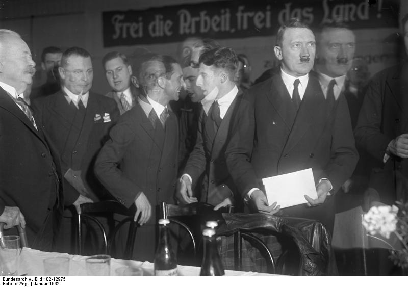 Adolf Hitler gives a speech for students at the tennis hall Fehrbelliner Platz