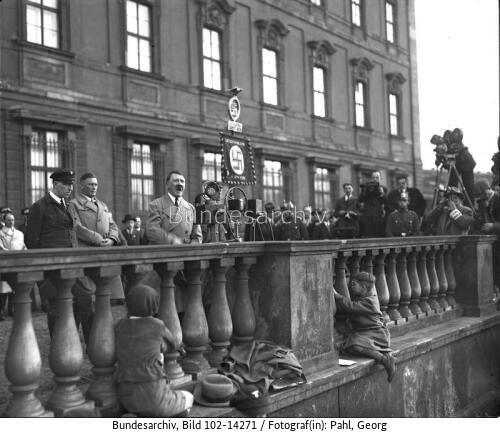 Adolf Hitler gives a speech at a rally of the National Socialists in Lustgarten next to the Berliner Palace