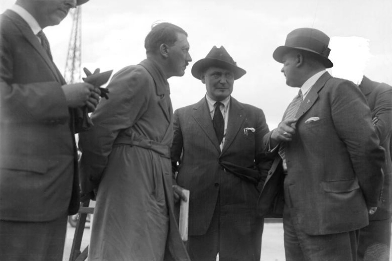 Adolf Hitler in conversation with Hermann Göring and Ernst Röhm in Tempelhof airport