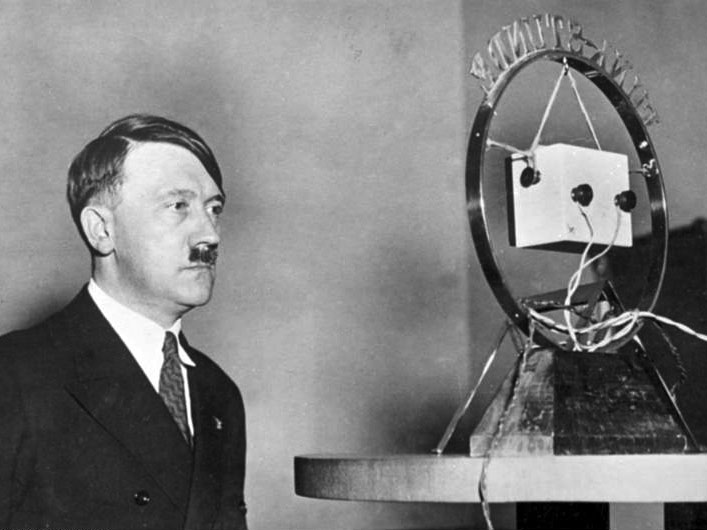Hitler makes his first radio broadcast as German Chancellor in front of a radio microphone