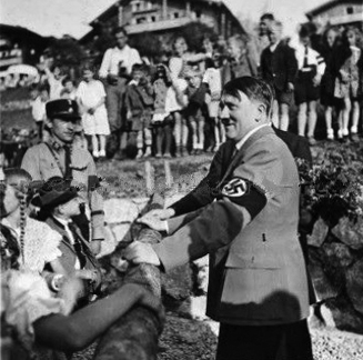 Private photo of Adolf Hitler greeting people who came to see him on the Obersalzberg