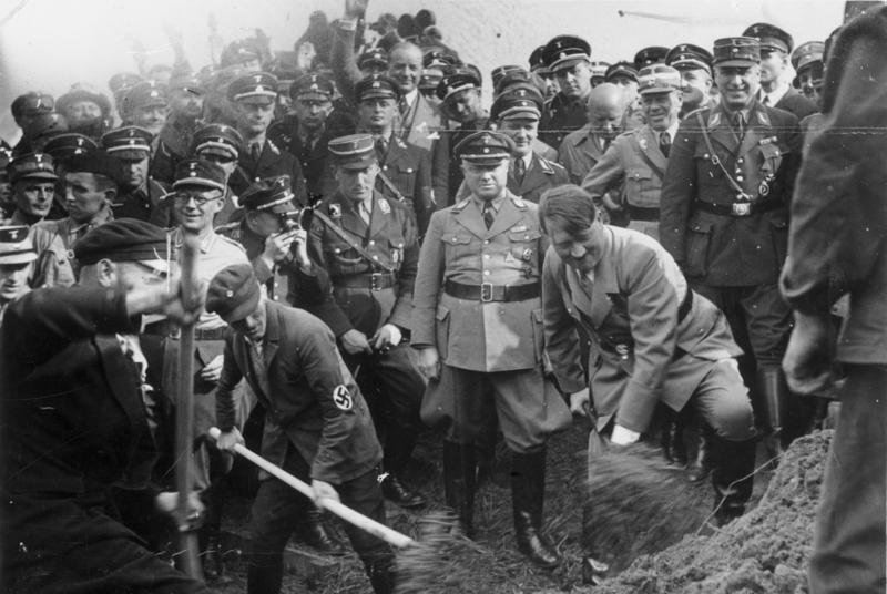 Adolf Hitler at the ground breaking ceremony of the Reichsautobahn