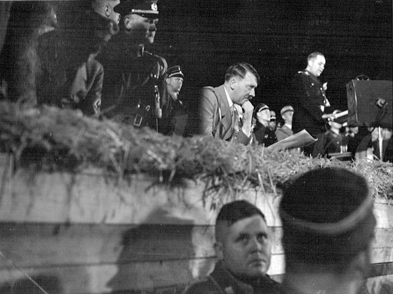 Adolf Hitler at the tribune during the Harvest Festival on the Bückeberg