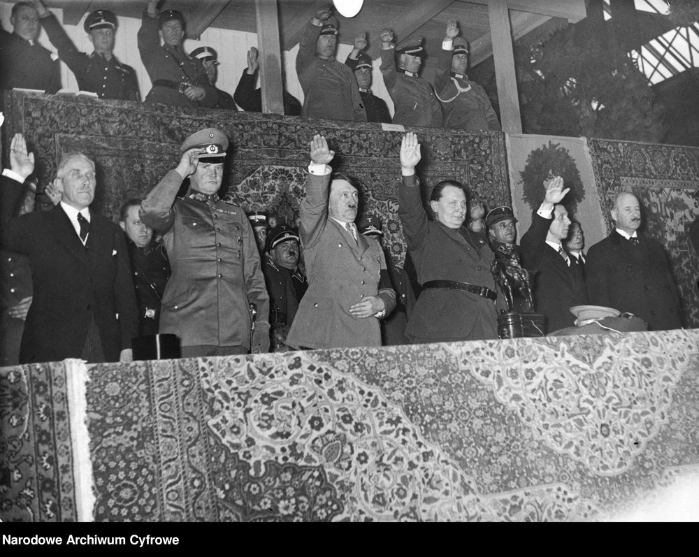 Adolf Hitler at the honor tribune of Berlin's Kaiserdamm arena on the occasion of the Grand Prix of the Nations horse race