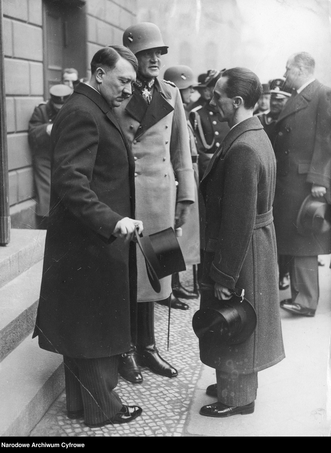 Adolf Hitler with Werner von Blomberg and Joseph Goebbels at the Day of Potsdam