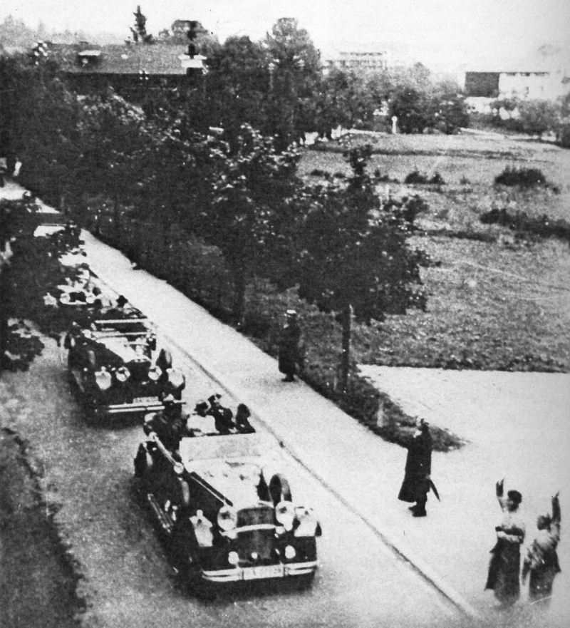 Adolf Hitler's convoy arrive at the the Kurhaus Hanslbauer hotel in Bad Wiessee, just before the SA purge of the Knight of the Long Knifes