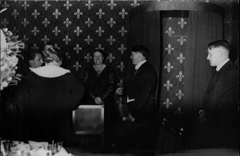 Winifred Wagner in conversation with Adolf Hitler and Joseph and Magda Goebbels, and Wieland Wagner at the bayreuther Festspielen