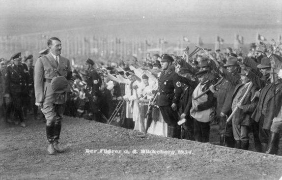 Adolf Hitler walking along the Führer's way to the harvest monument during the Erntedankfest