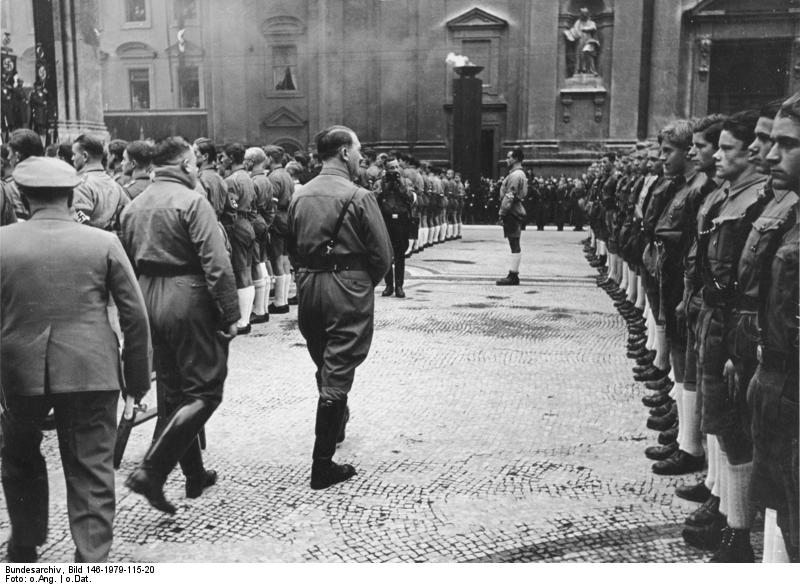Inclusion of the 18-year-old Hitler Youth in the NSDAP during the eleventh anniversary of Hitler's putsch in Munich