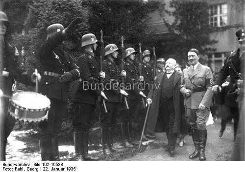 Adolf Hitler with Karl Litzmann on his 85th birthday