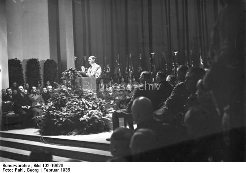 Adolf Hitler makes a speech for the opening of the 1935 international motor show