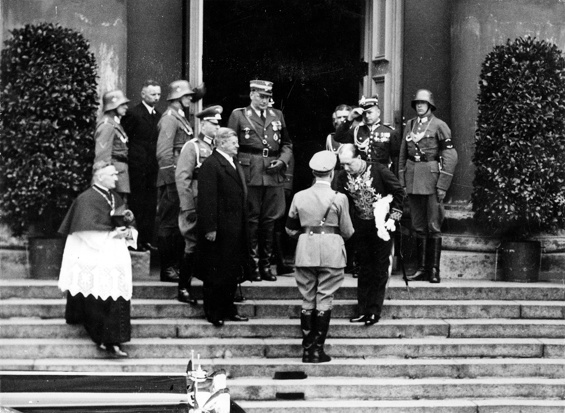 Adolf Hitler arrives at St. Hedwig's Cathedral in Berlin for the memorial service for Polish First Marshal Jozef Pilsudski