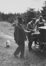 Adolf Hitler during a picknick break in the Harz mountains, photo from one of Rudolf Hess's albums