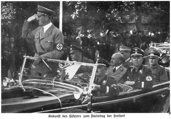 Adolf Hitler arrives at Nuremberg for the 1935 Reichsparteitag