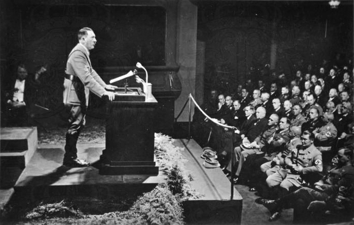 Adolf Hitler gives a speech at the Reichsparteitag cultural conference in Nuremberg's City Hall