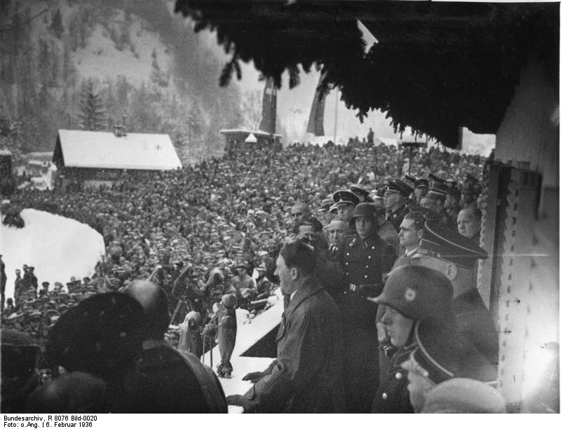 Adolf Hitler speaks at the opening of the Winter Olympic games