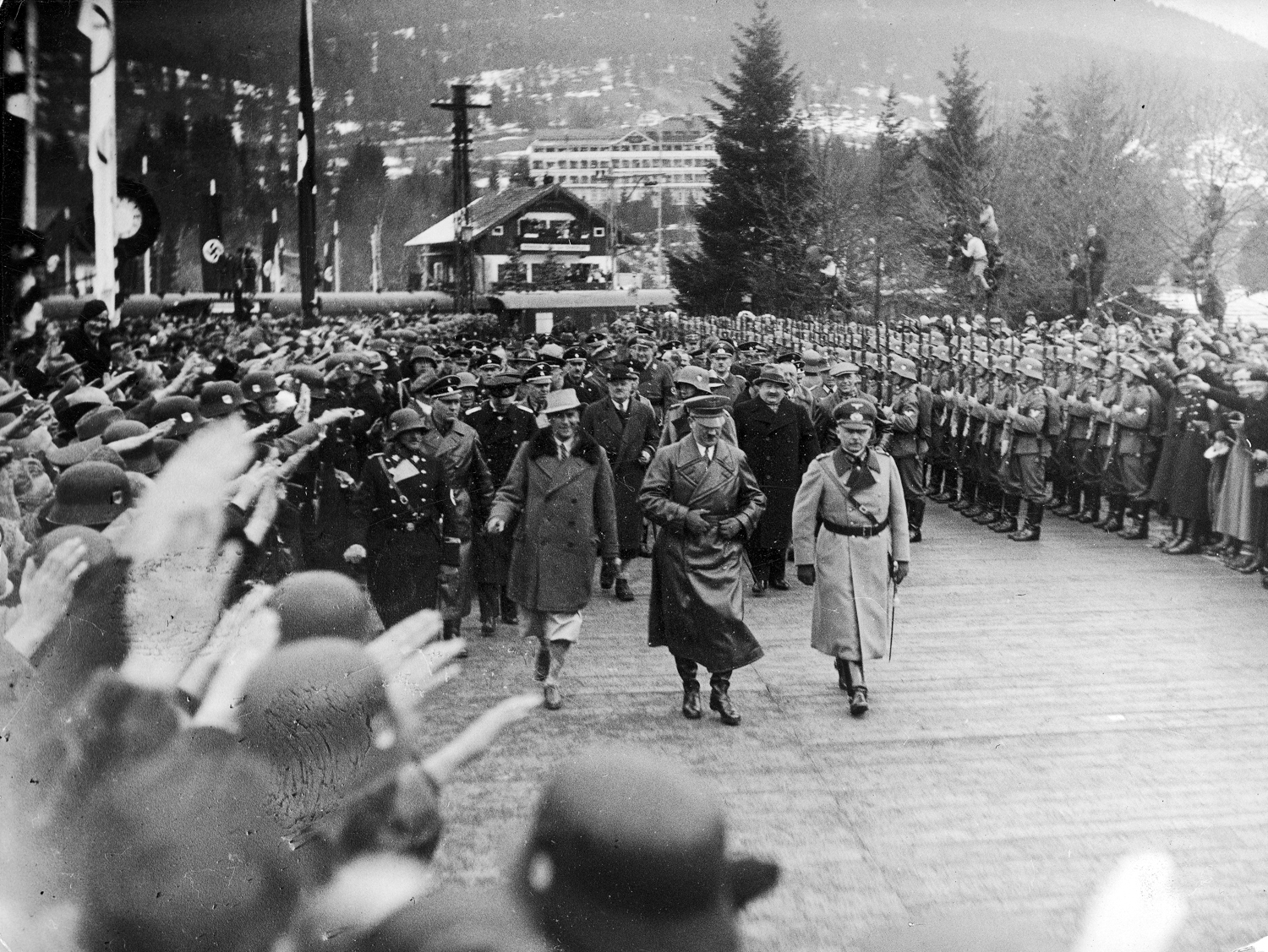 Adolf Hitler arrives for the closing ceremony of the Winter Olympic games in Garmisch-Partenkirchen