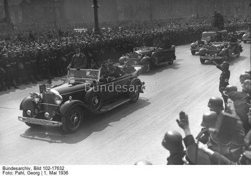 Adolf Hitler on his way to Berlin's Lustgarden on May Day