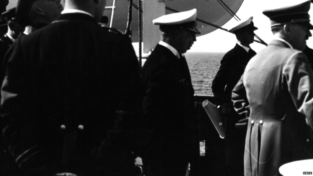 Adolf Hitler inspects the Horst Wessel ship in Hamburg