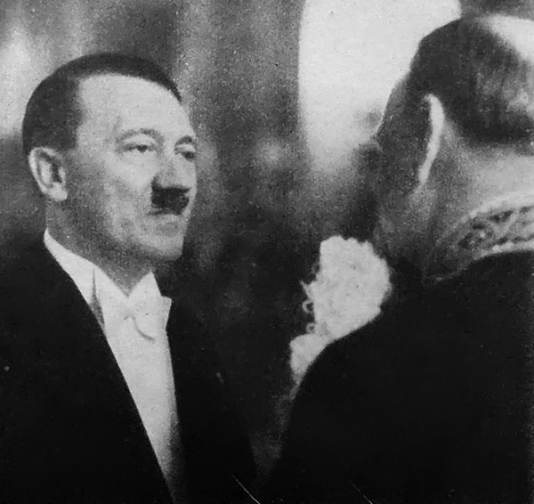 Adolf Hitler in conversation with Chilean diplomat Luis del Porto Seguro Ovalle during the New Year reception in Berlin