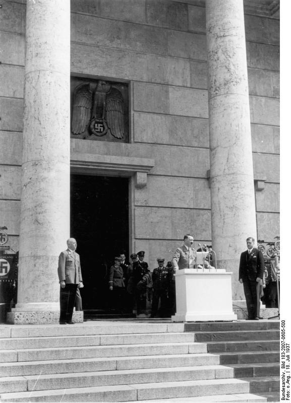 Adolf Hitler speaking at the inauguration of the House of German Art, Munich