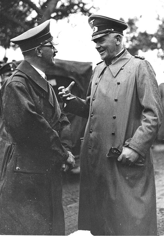 Adolf Hitler in conversation with Field Marshall Werner von Blomberg at the autumn manoeuvres of the Wehrmacht in Neustrelitz, Mecklenburg