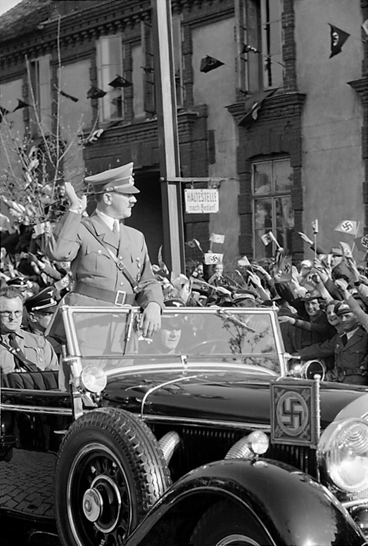 Adolf Hitler entering Graz, Austria three weeks after the Anschluss