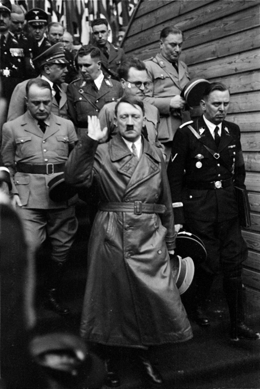Hitler in Graz after his speech in the Weitzer wagon factory