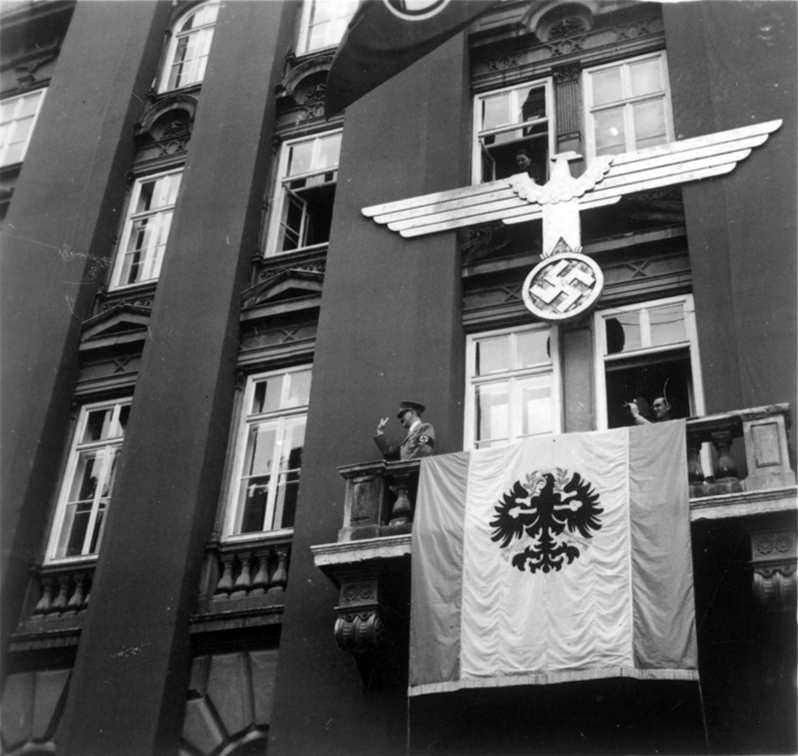 Adolf Hitler on the balcony of Hotel Tyrol in Innsbruck