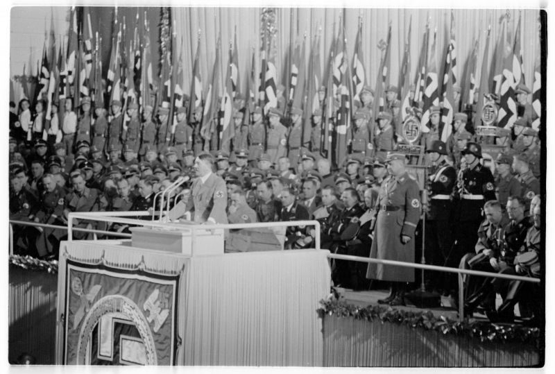 Adolf Hitler gives a speech in Vienna's Nordwestbahnhalle