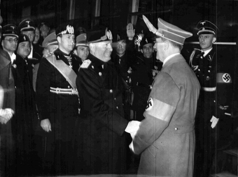 Adolf Hitler bids farewell to Benito Mussolini in Florence after the Führer's trip to Italy
