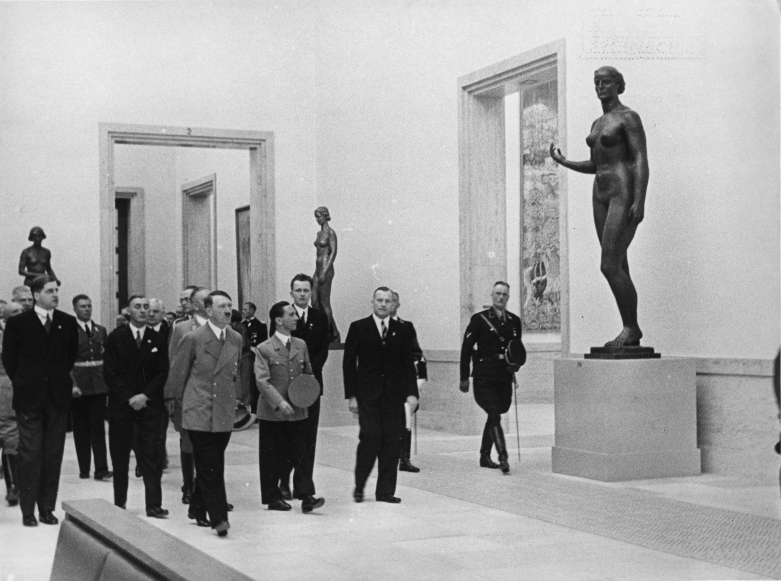 Adolf Hitler visits the newly open great German art exhibition in Munich