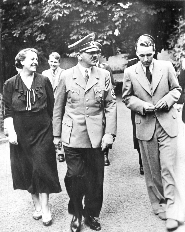 Winifred Wagner with her son Wieland (right) and Hitler in the garden at Wahnfried, the Wagner home in Bayreuth