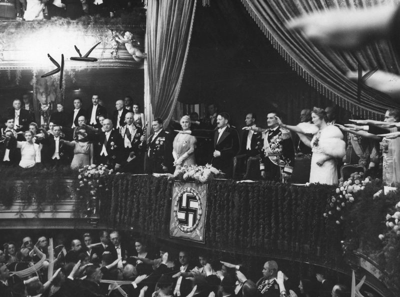 Adolf Hitler and Miklos Horthy at a representation of Lohengrin in Berlin's Staatsoper, during his official state visit
