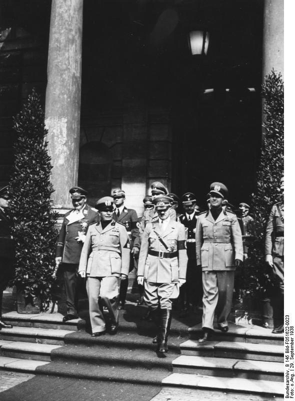 Benito Mussolini, Adolf Hitler, Hermann Göring, Heinrich Himmler and Galeazzo Ciano Munich Conference