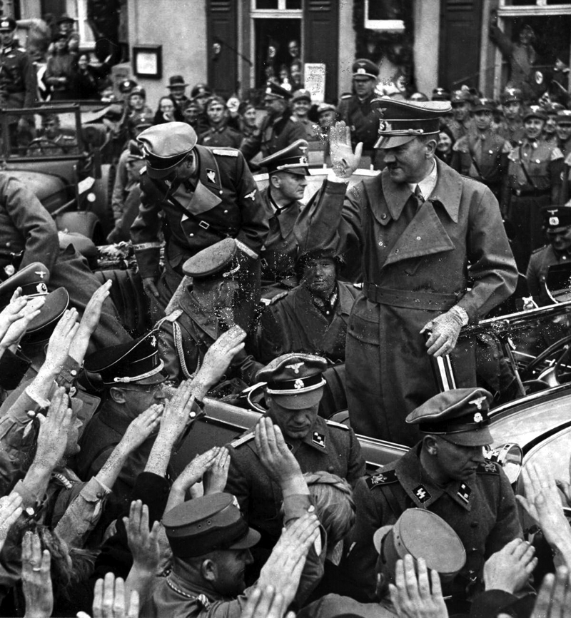 Adolf Hitler is welcomed by the German residents in Wildenau bordering the Sudetenland region