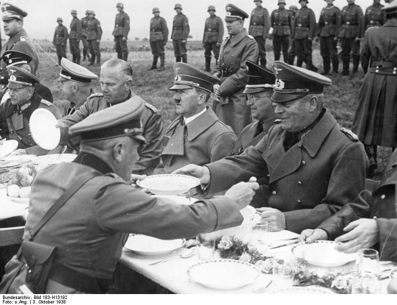 Adolf Hitler with his troops in Franzensbad Sudetenland