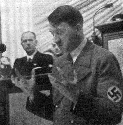 Adolf Hitler gives his Government Declaration at the first meeting of the newly formed Reichstag in the Kroll Opera in Berlin