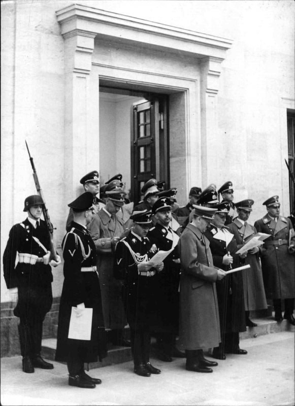 The choir of the Leibstandarte Adolf Hitler sings for the Führer's 50th birthday in the evening of April 19th