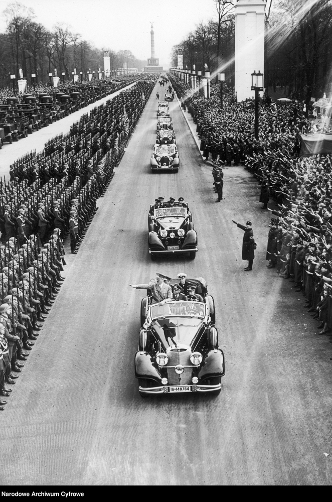 Adolf Hitler on the East-West axe on his way to the parade