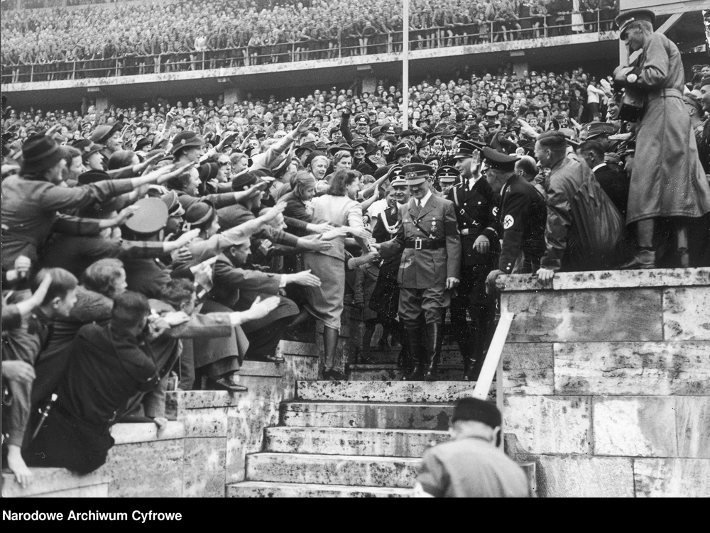 Adolf Hitler in Berlin's Olympic Stadium after his speech to 132 000 Hitler Youth and Maidens