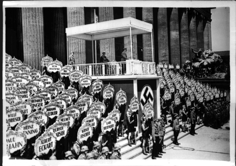 Adolf Hitler speaks in front of Berlin's Altes Museum on the occasion of the return of the Legion Condor