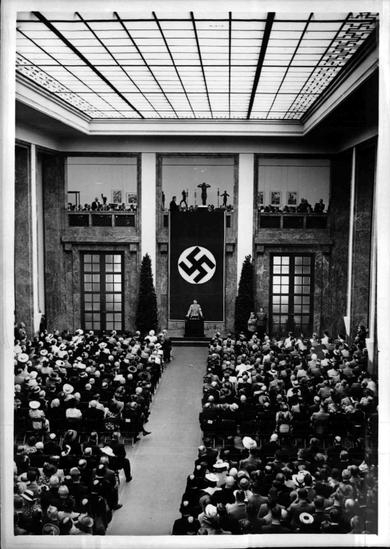 Adolf Hitler makes a speech on the occasion of the opening of the Großen Deutschen Kunstausstellung in Munich