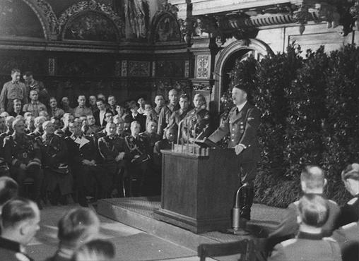 Adolf Hitler addresses German officers after the occupation of Danzig