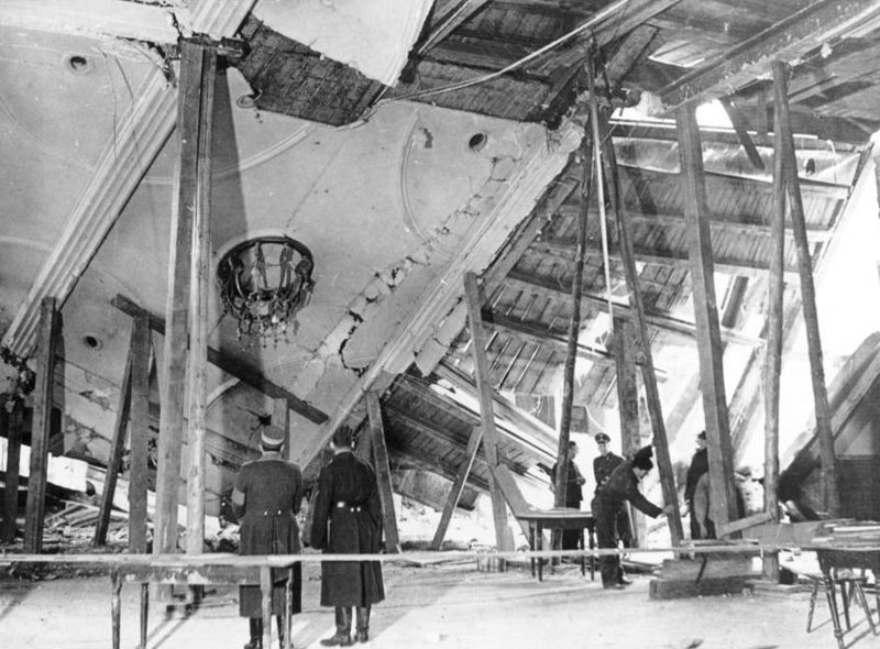 Adolf Hitler unexpectedly shortened his speech by 40 minutes, leaving the Bürgerbräukeller a few minutes before the bomb exploded. Georg Elser was arrested at the Swiss border.