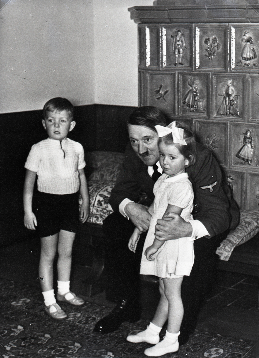 Adolf Hitler with the Speer and Bormann children, from Eva Braun's albums