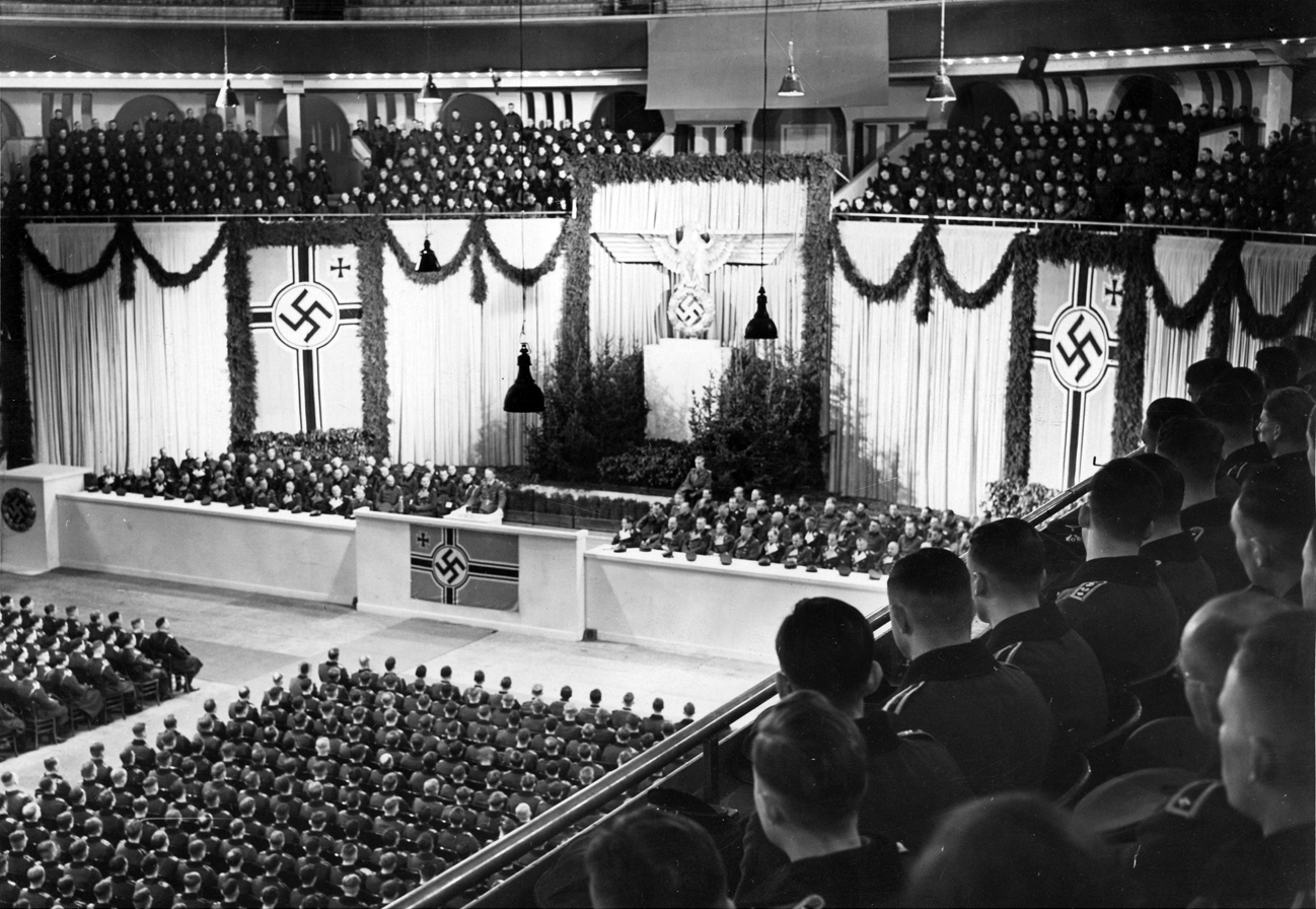 Adolf Hitler speaks to cadets in Berlin's Sportpalast