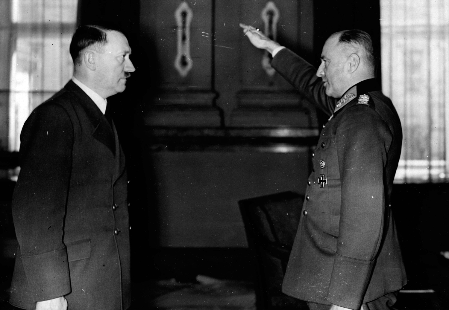 Walther von Brauchitsch congratulates Adolf Hitler for his 51th birthday